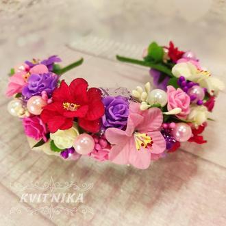 Большой венок с цветами в розовом цвете Красивый яркий венок на фотосессию, день рождения, выпускной