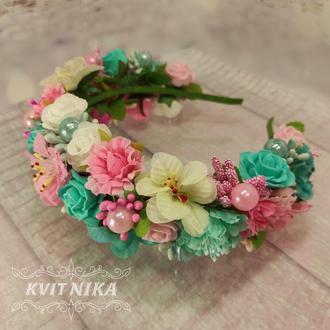Большой яркий венок в розовых и мятных цветах на утренник, фотосессию или выпускной