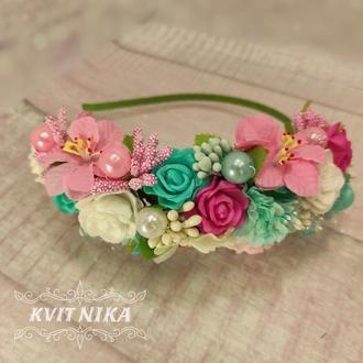 Большой венок половинка с цветами в розовых и мятных цветах на утренник, фотосессию, день рождение