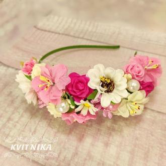 Нежный веночек в розовых цветах на утренник, фотосессию, выпускной или на каждый день