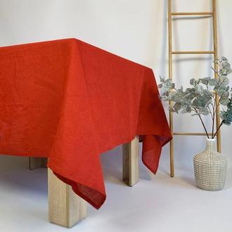 Красная льняная скатерть для кухни Свадебная скатерть Квадратная скатерть