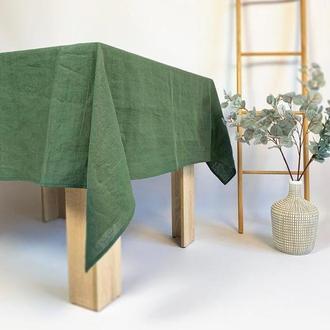 Зеленая льняная скатерть для кухни Свадебная скатерть Квадратная скатерть