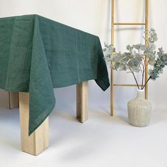 Темно зеленая льняная скатерть для кухни Свадебная скатерть Квадратная скатерть