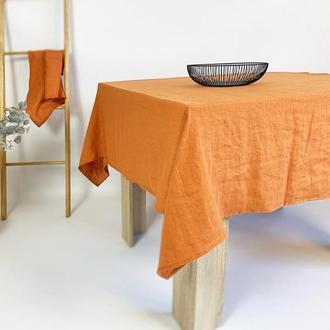 Оранжевая льняная скатерть для кухни Свадебная скатерть Квадратная скатерть