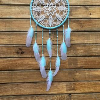 Белый мятный голубой ловец снов,ловец снов,ловец снов бохо,декор,подарок