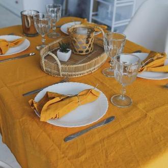 Горчичная льняная скатерть для кухни Свадебная скатерть Квадратная скатерть