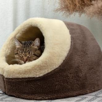 Домик из меха для кота, кошки или собачки теплый и удобный