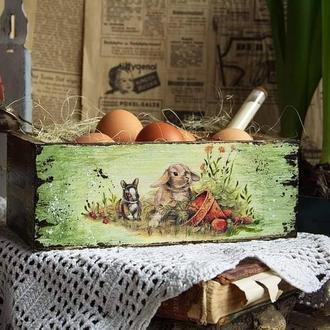 ящик для пасхального декора и хранения нужных чвещей