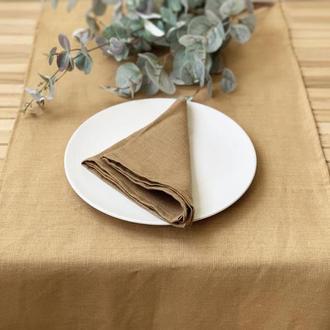 Коричнево золотая льняная дорожка на стол Скатерть Ранер Декор для стола