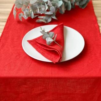 Красная льняная дорожка на стол Скатерть Ранер Декор для стола