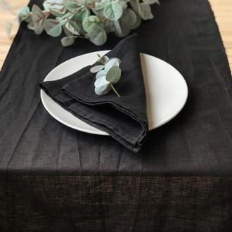 Черная льняная дорожка на стол Скатерть Ранер Декор для стола