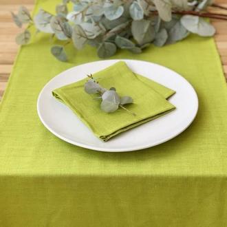 Салатовая льняная дорожка на стол Скатерть Ранер Декор для стола