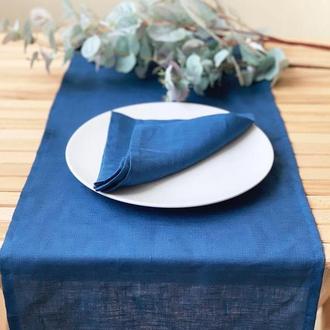 Индиго льняная дорожка на стол Скатерть Ранер Декор для стола
