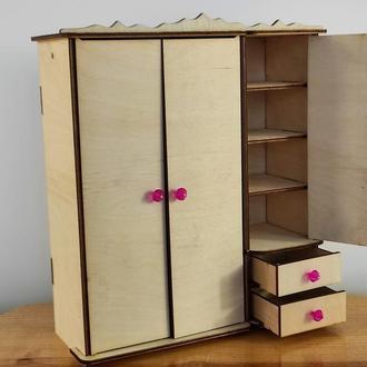 Шкаф для кукол барби. Мебель для кукол. Кукольный шкаф
