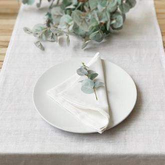 Белая льняная дорожка на стол Скатерть Ранер Декор для стола