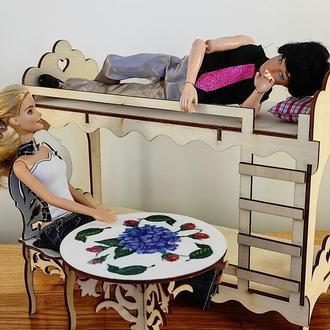 Двухъярусная кровать для Барби. Мебель для кукол