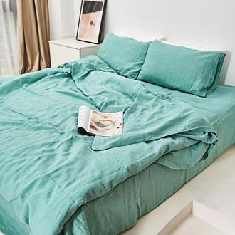 Бирюзовое льняное постельное белье, постельное белье из льна