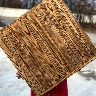 Деревянный фотофон Золотой фактурный со стариной