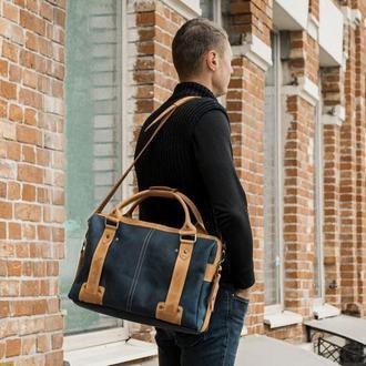 Кожаная сумка мужская. Портфель для документов и ноутбука