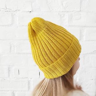 Хлопковая шапка на весну для девочки девушки в наличии желтая