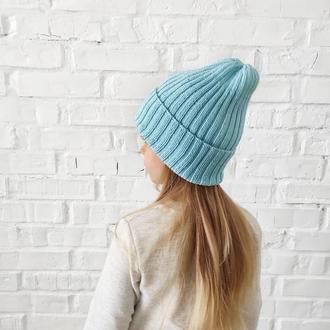 Весенняя шапка вязаная из хлопка детская для девочки мальчика унисекс