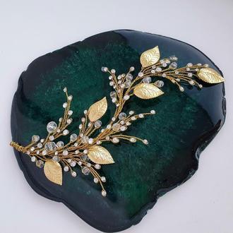 Свадебное украшение для волос, золотистая веточка, золотистое украшение в прическу