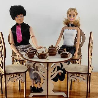 Стол и стулья для кукол. Мебель для кукол барби