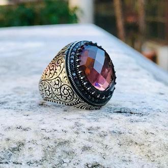Драгоценный перстень из серебра ювелирный ручной работы Авторский дизайн Восточный стиль