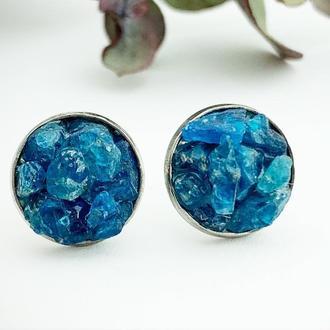 Серьги гвоздики с кристаллами синего апатита Минимализм Подарок девушке (модель № 648) JK jewelry