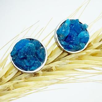 Серьги гвоздики с кристаллами синего апатита Минимализм Подарок девушке маме (модель№ 649) JKjewelry