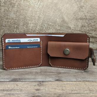 Мужской кошелек из натуральной кожи, портмоне мужское, бумажник