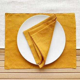Горчичная текстильная подставка из льна для тарелки под горячее Тканевая подставка Ланчмат