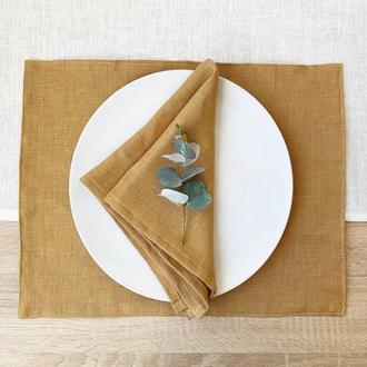 Коричнево золотая текстильная подставка из льна для тарелки под горячее Тканевая подставка Ланчмат