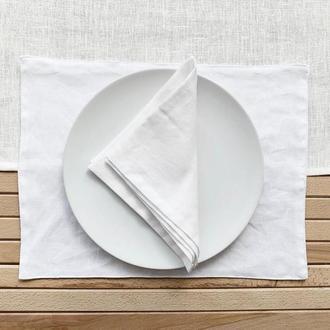 Белая текстильная подставка из льна для тарелки под горячее Тканевая подставка Ланчмат