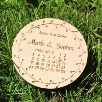 Свадебные магниты, пригласительные из дерева