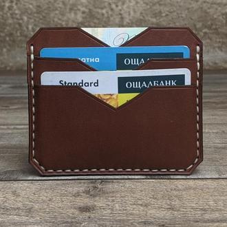 Картхолдер, візитниця, міні-гаманець, натуральна шкіра, гравіювання