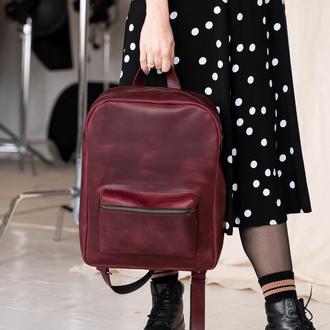 Женский городской рюкзак  из натуральной винтажной кожи бордового цвета