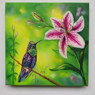 """Картина олійними фарбами """"Колібрі"""" на полотні 20х20 см"""