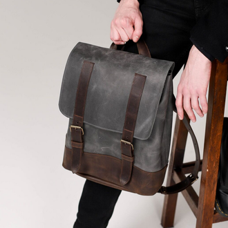 Универсальный мужской рюкзак из натуральной винтажной кожи темно-серого цвета
