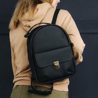 Женский мини-рюкзак  из натуральной кожи с легким матовым эффектом черного цвет