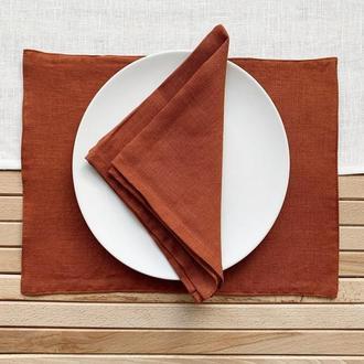 Терракотовая текстильная подставка из льна для тарелки под горячее Тканевая подставка Ланчмат