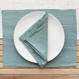 Пыльно голубая текстильная подставка из льна для тарелки под горячее Тканевая подставка Ланчмат