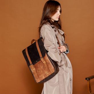 Вместительный женский городской рюкзак ручной работы  из натуральной винтажной кожи