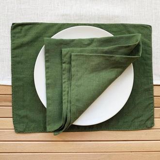 Зеленая текстильная подставка из льна для тарелки под горячее Тканевая подставка Ланчмат