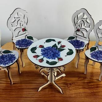 Круглый стол и 4 стулья для кукол. Мебель для кукол и кукольного домика