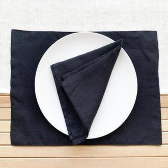 Черная текстильная подставка из льна для тарелки под горячее Тканевая подставка Ланчмат