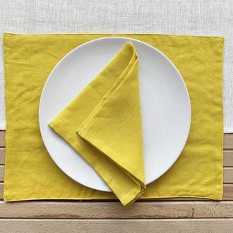 Желтая текстильная подставка из льна для тарелки под горячее Тканевая подставка Ланчмат