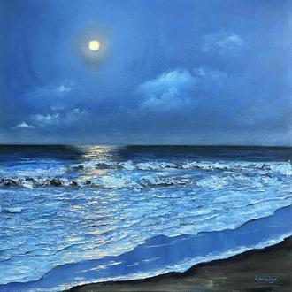 """Картина маслом на холсте """"Море"""" море луна ночь"""