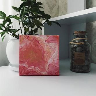 Картина квадратна акрилова заливка на полотні в рожево золотих тонах
