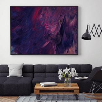 """Интерьерная картина жидким акрилом """"Фиолетовые волны"""""""